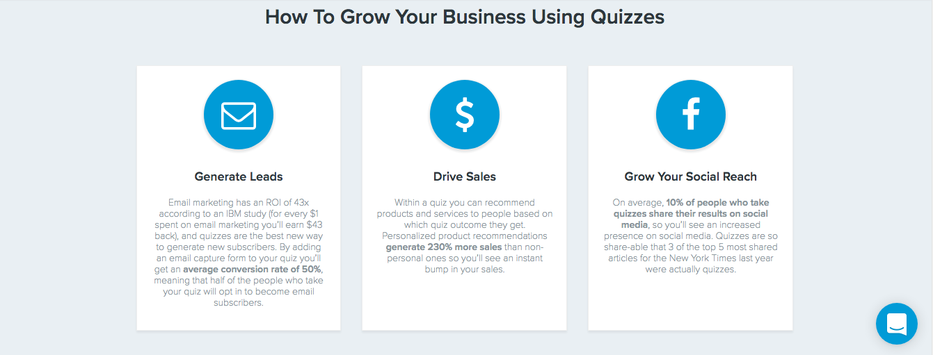 Grow business using quizzes