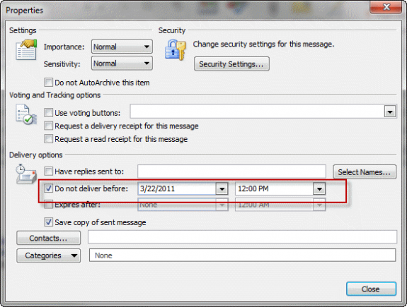 outlook delay delivery 3