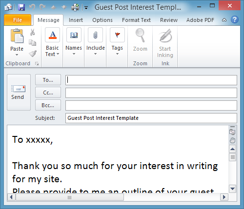 template email outlook