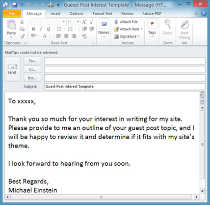 how to use outlook email template