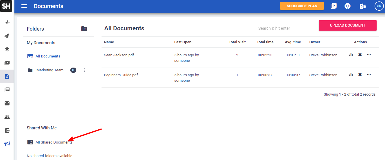 new document tracking shared documents