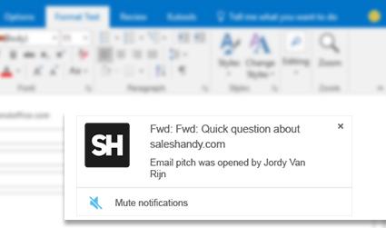 Outlook Read Receipt notification